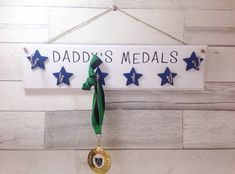 Dads medals, Personalised hanging medal holder, hooks for medals, wooden sign with hooks, running a Hanging Medals, Football Medals, Medal Holders, Running Accessories, Silver Paint, Birthday Board, Personalized Signs, Sentimental Gifts, Kids Decor