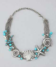 Take a look at this Top It Off Blue & Silver High Tide Necklace by Summer Accessories Collection on #zulily today!
