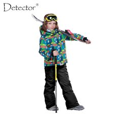 Boys Ski Set Outdoor Waterproof Windproof Suit Kids Winter Warm Snowboard Ski Jacket