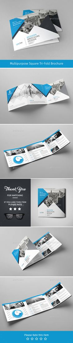 Corporate Tri-fold Square Brochure 04  — PSD Template #social #market #marketing…