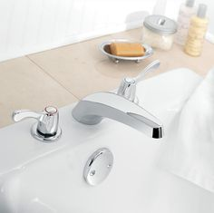 Moen 2-Handle Faucet and White Sink