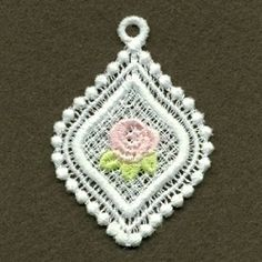 FSL Rose Pendant 5 - 4x4 | FSL - Freestanding Lace | Machine Embroidery Designs | SWAKembroidery.com Ace Points Embroidery