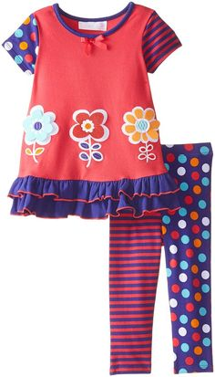 Bonnie Baby Baby Girls' Daisy Appliqued Knit Legging Set, Coral, 12 Months