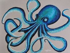 Brooke's Octopus by Ricky Trione, (Several Print Sizes, Materials & Prices) Octopus Artwork, Octopus Drawing, Octopus Painting, Octopus Images, Shark Painting, Texture Art, Texture Painting, Blind Artist, Watercolor Painting Techniques