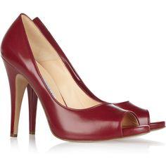 Bionda Castana Melody leather peep-toe pumps ($380) ❤ liked on Polyvore