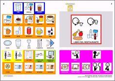Libro de comunicación aumentativa y alternativa temático sobre los restaurantes. Autores: J. M. Marcos y D. Romero. Pictogramas ARASAAC, elaborados por Sergio
