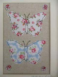 Handmade Butterflies Framed Picture Cath Kidston fabric ornate shabby chic frame   eBay