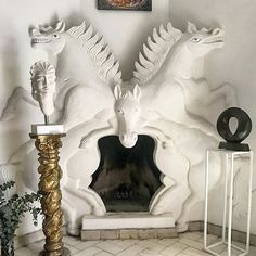 The casa of Pedro Friedeberg has blown my mind. This horse plaster mantle is everything! #casadiana #sma #sanmigueldeallende…