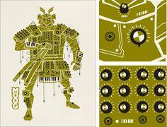Spike Press, olive green, Moog, analog synth, robot