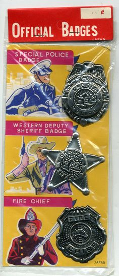 A great find, these tin badge sets were made in Japan in the 1950's and sat unused in a warehouse until they found their way to our door! Each tin badge is about two inches tall, and the set includes