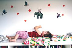 Vinyl Wall Sticker Decal Art - Flying fishes and elephant