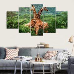 Hd Landscape Giraffes – Animal 5 Panel Canvas Art Wall Decor