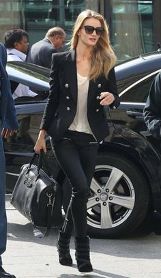 Rose Huntington Whiteley: Sporting a polished, double-breasted, tailored blazer in navy with zipper-pocketed waxed jeans