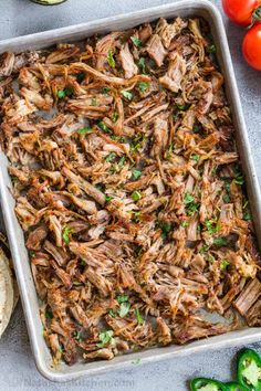 Slow Cooker Pork Carnitas are perfectly crispy on the outside with a juicy center. It's so easy to make authentic, restaurant quality Mexican pulled pork! Whole 30 Recipes, Pork Recipes, Mexican Food Recipes, Healthy Recipes, Mexican Dishes, Chili Recipes, Healthy Eats, Keto Recipes, Slow Cooker Pork
