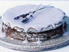 Chocolate cake with lavender cream