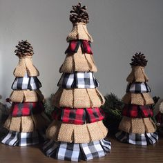 Your place to buy and sell all things handmade - Excited to share this item from my shop: Plaid and burlap Holiday trees buffalo check Country Christmas decor buffalo plaid rustic decor farmhouse Christmas mantle decor primitive Source by Country Christmas Decorations, Holiday Centerpieces, Farmhouse Christmas Decor, Rustic Christmas, Handmade Christmas, Christmas Mantles, Christmas Mantle Decorations, Primitive Country Christmas, Burlap Christmas Tree