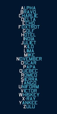 Used these Phonetic alphabet codes everyday of my career !