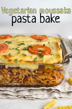 Vegetarian moussaka pasta bake - rich tomatoey pasta, griddled aubergine (eggplant) and a thick and creamy bechamel sauce! All the flavours of your favourite moussaka, with extra pasta. #fusionfood #vegetarianfood #moussaka #vegetarianmoussaka #greekfood #pastabake #vegetarianpasta