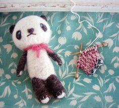 needle felt knitting panda