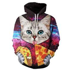 Pizza Cat Hoodies Men Women Brand Sweatshirts Unisex Pritned Pullover Coats Plus Casual Tracksuits Autumn Male Hoodie Galaxy Hoodie, Taco Cat, Galaxy Cat, Cool Hoodies, Women Brands, Cat Love, Hooded Sweatshirts, Kitty, Cats