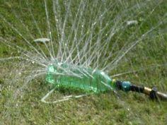 Great recyclable idea:  Plastic bottle sprinkler