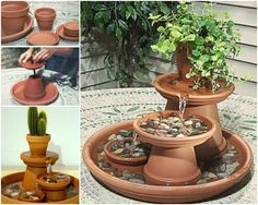 "Creative Ideas - DIY Terracotta Pot Water Fountain ❗I had two of these easy-to-build water fountains for years. ❗❗❗ Terra Cotta pots can not be left outside in winter ❗ Plastic pots used for the fountains can be left out for the winter ""stay-over birds ! Diy Garden, Garden Crafts, Garden Projects, Garden Art, Garden Design, Herb Garden, Shade Garden, Indoor Garden, Vegetable Garden"