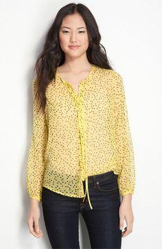 Yellow, black dot silk blouse