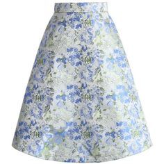 Chicwish Paint My Dreams Floral A-line Skirt in Blue ($37) ❤ liked on Polyvore featuring skirts, multi, a line skirt, floral print a-line skirt, flower print skirt, knee length a line skirt and blue floral skirt