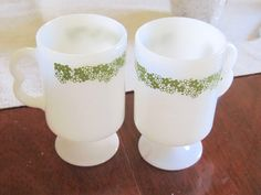 PRICE REDUCED-B Handle Pedestal Mugs in Spring Blossom by NonisVintageDelights, $6.50
