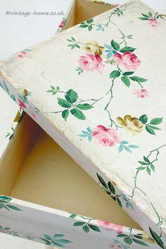 Vintage Home Shop - Pretty Vintage Rosy Wallpaper Covered Storage Box: www.vintage-home.co.uk