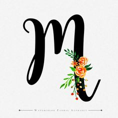 Letter M Watercolor Floral Background Brush Lettering, Lettering Design, Logo Design, M Letter Design, M Wallpaper, Beautiful Nature Wallpaper, Floral Letters, Embroidery Letters, Floral Watercolor
