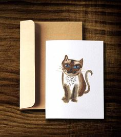 Cat card, Blank card with Envelope, Siamese cat (C5), Gift for cat lover, Thank you card, Greeting card $5.00