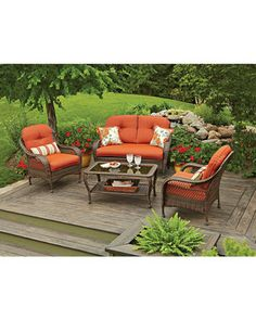 Shop for Patio & Garden Collections in Patio & Garden. Buy products such as Better Homes and Gardens Azalea Ridge Patio Dining Set, Outdoor Wicker Cushioned 5 Piece at Walmart and save. Patio Furniture Cushions, Outdoor Wicker Furniture, Garden Furniture Sets, Wicker Table, Furniture Ideas, Furniture Stores, Sectional Furniture, Porch Furniture, Antique Furniture