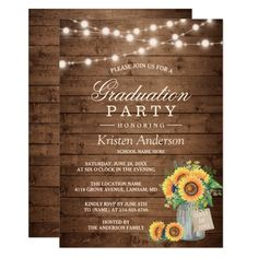 Rustic Sunflowers String Lights Graduation Party Invitation - tap to personalize and get yours #Invitation  #sunflower #graduation #graduation #party #mason Sunflower Wedding Invitations, Summer Wedding Invitations, Engagement Party Invitations, Beautiful Wedding Invitations, Reception Invitations, Shower Invitation, Wedding Stationery, Graduation Party Themes, Graduation Party Invitations