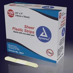 Adhesive Bandages Sheer Strips - Sterile -   Bandages in multiple sizes, including spots. A sterile ready-to-use protective dressing for minor cuts and abrasions. Made of strong sheer ventilated. plastic and coated with a long-lasting adhesive. Non-stick pad for comfort and fluid absorption. Packaged in dispenser boxes for convenient handling. Latex Free.