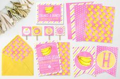 Curious Girl Monkey - Watercolor - Bananas - DIY Printable Party Set - Invitation, Banner, Papers, Backer, Liner, Cirlces & Thank You Card