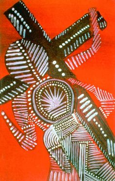 Miriam-Rose Ungunmerr, a member of the Daily River Mission Church in Australia's Northern Territory. The painting is made in the traditional style of her aboriginal community. In the earlier stations, the patterns on Jesus' body show the physical stress he is under. The circles on his head indicate the pain and sorrow locked up inside him. The patterns on the cross show the increasing weight on his shoulders. In this painting, the patterns are changed.