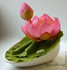 Clay handmade lotus by Dorodnikova Anna
