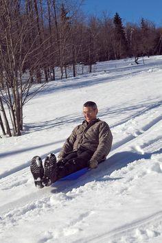 Waaahoooo!  Never too old for sliding!