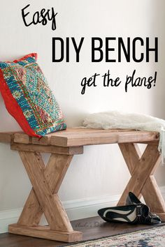 Easy DIY bench Love how easy and simple it is to build this entryway DIY bench. Great farmhouse or rustic look. It is the perfect DIY project. Easy DIY bench with plans and video tutorial. Perfect for indoor, outdoors or entryway. Furniture Projects, Wood Furniture, Wood Projects, Building Furniture, Furniture Cleaning, Primitive Furniture, Furniture Websites, Inexpensive Furniture, Furniture Online