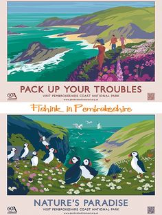 Retro posters - Pembrokeshire coastal path. Join us on our Wonderful wales trip to see more wonders in Wales