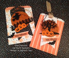 Halloween Night Specialty Paper, Halloween Scenes Thinlits, Spooky Fun stamp set, 2016 Holiday Catalog, Stampin' Up! Sac Halloween, Halloween Taschen, Halloween Paper Crafts, Halloween Scene, Halloween Cards, Holidays Halloween, Halloween Treats, Preschool Halloween, Halloween Favors
