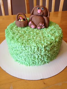 Simple Easter cake. Fondant bunny