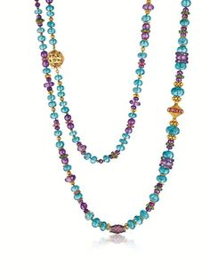 'BYZANTINE' BEAD NECKLACE Fulco di VERDURA  Apatite, amethyst, ruby, emerald, diamond and gold.