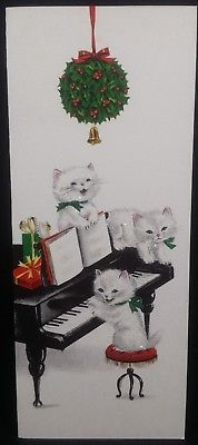 Vintage Used Christmas Card KITTENS PLAYING PIANO