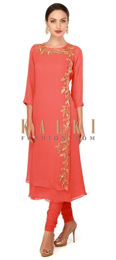 Buy now Coral straight suit adorn in kardana embroidery only on Kalki