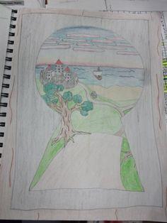"8th grade sketchbook - Alice In Wonderland ""The Keyhole is Not Impassable"" Virginia Heinl's ART Blog by Virginia Heinl  /  10d  //  keep unr..."