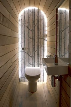 Headlands Cottage - contemporary - Bathroom - Other Metro - Barc Architects Ltd- Headlands Cottage A Cedar clad vaulted cloakroom toilet, the tree motif wallpaper framed by strip LED lights create an ethereal effect in this small room. Photos by James Lawley