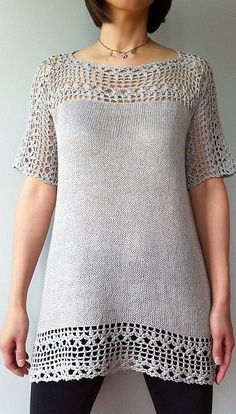 Combining crochet and knitting tunic by Vicky Chan on Ravelry
