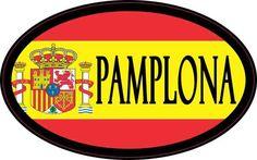 4in x 2.5in Oval Spanish Flag Pamplona Sticker   StickerTalk®